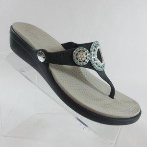 Crocs Sanrah Diamante Navy Wedge Flip Flop